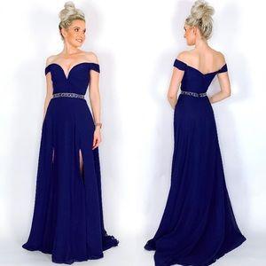 Blue Off Shoulder Prom Dress